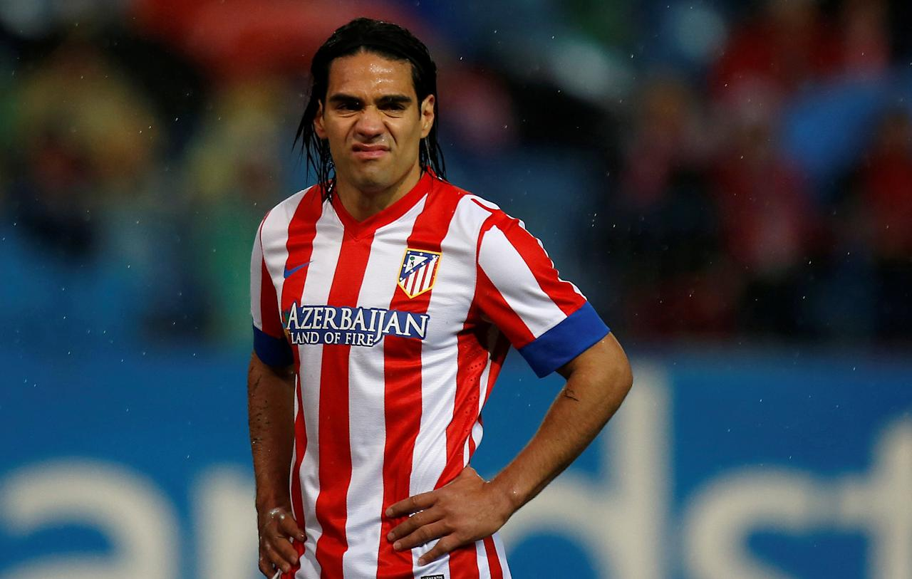 FILE PHOTO - Atletico Madrid's Radamel Falcao is seen during the Spanish first division soccer match against Valencia at Vicente Calderon stadium in Madrid March 31, 2013. REUTERS/Javier Barbancho/File Photo