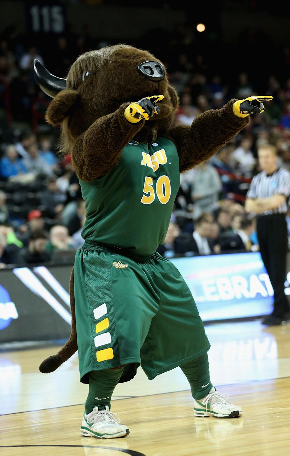 SPOKANE, WA - MARCH 20:  The North Dakota State Bison mascot, Thundar performs during haltime in the second round of the 2014 NCAA Men's Basketball Tournament game against the Oklahoma Sooners at Spokane Veterans Memorial Arena on March 20, 2014 in Spokane, Washington.  (Photo by Stephen Dunn/Getty Images)