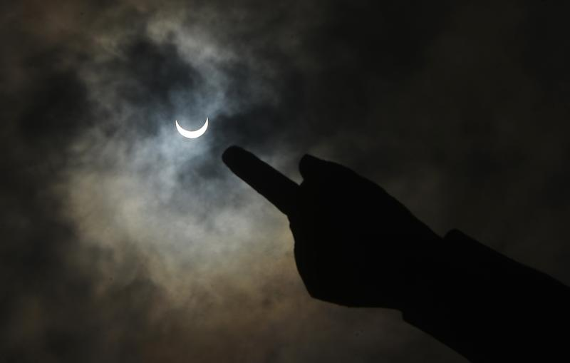 NEW DELHI, INDIA JUNE 21: Solar Eclipse shot in New Delhi. (Photo by K Asif/India Today Group/Getty Images)