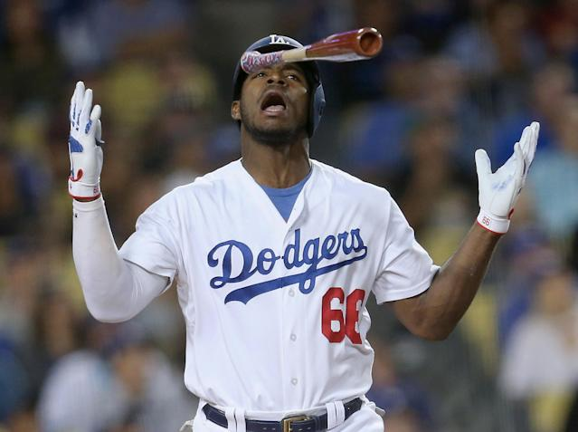 Yasiel Puig has made his manager angry over the past couple days. (Photo by Stephen Dunn/Getty Images)