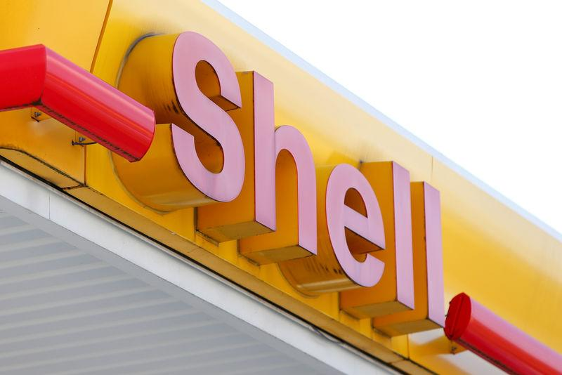 FILE PHOTO: The logo of a Shell petrol station is pictured in Ulm