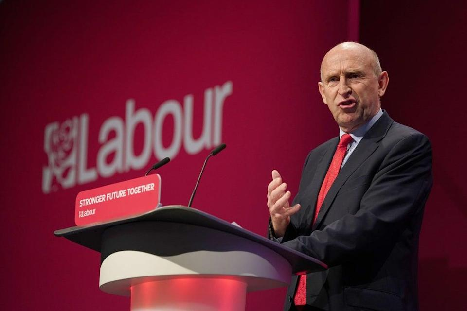 Shadow defence secretary John Healey during his speech at the Labour Party conference (PA) (PA Wire)