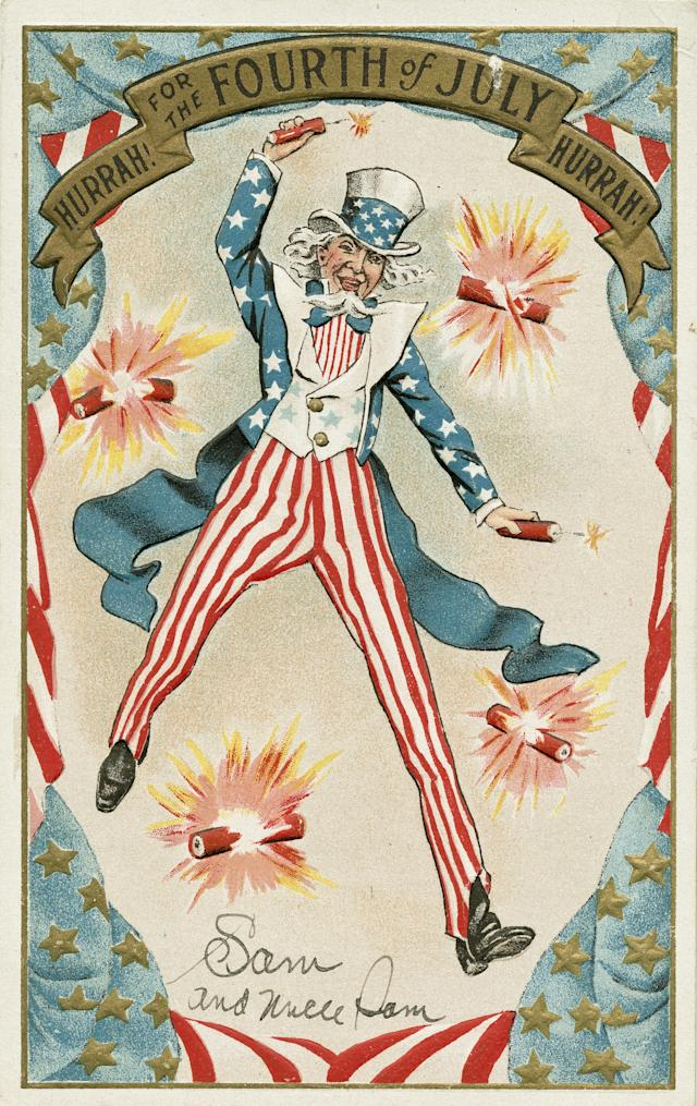 <p>An illustrated postcard shows Uncle Sam celebrating Independence Day, 1908. (Photo: Kean Collection/Getty Images) </p>