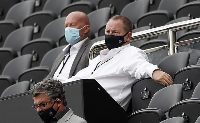 Newcastle owner Mike Ashley in the stands at St James' Park