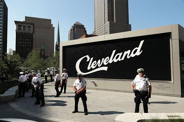 <p>Police stand guard during protests near the sight of the Republican National Convention (RNC) in downtown Cleveland on the second day of the convention on July 19, 2016. (Photo: Spencer Platt/Getty Images)</p>