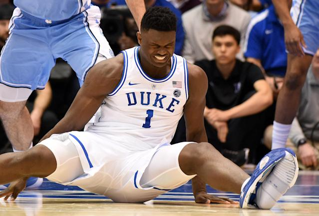Duke Blue Devils forward Zion Williamson (1) reacts after falling during the first half against the North Carolina Tar Heels at Cameron Indoor Stadium. (Reuters/USA Today)