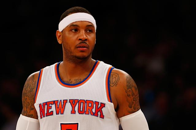 """Had the <a class=""""link rapid-noclick-resp"""" href=""""/nba/teams/new-york/"""" data-ylk=""""slk:Knicks"""">Knicks</a> been better at free agency, a reunion with Carmelo Anthony might have been in store. (Getty)"""