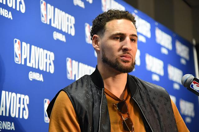 Klay Thompson is looking ahead to a second-round match-up he hasn't made it to yet. (Photo by Andrew D. Bernstein/NBAE via Getty Images)