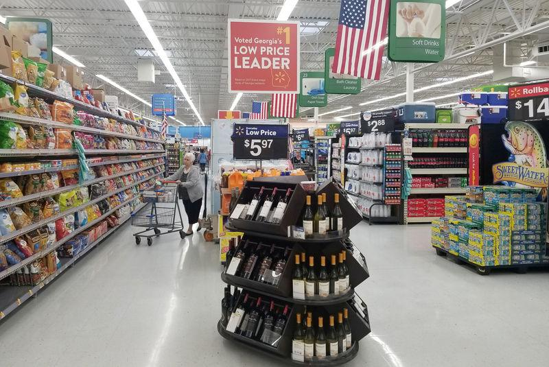 FILE PHOTO: A shopper is seen in the aisle of a Walmart store in Woodstock