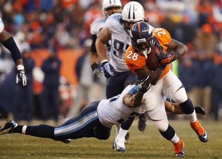 Dec 8, 2013; Denver, CO, USA; Denver Broncos running back Montee Ball (28) runs with the ball during the second half against the Tennessee Titans at Sports Authority Field at Mile High. The Broncos won 51-28. Mandatory Credit: Chris Humphreys-USA TODAY Sports