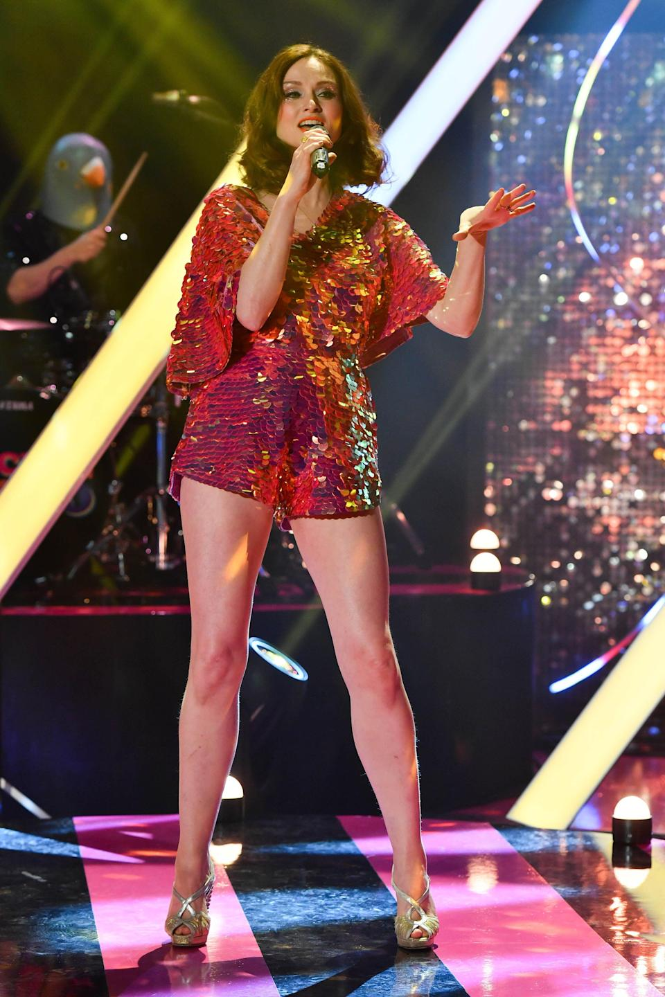 Sophie Ellis-Bextor performs during the filming for the Graham Norton Show (Matt Crossick/PA) (PA Archive)