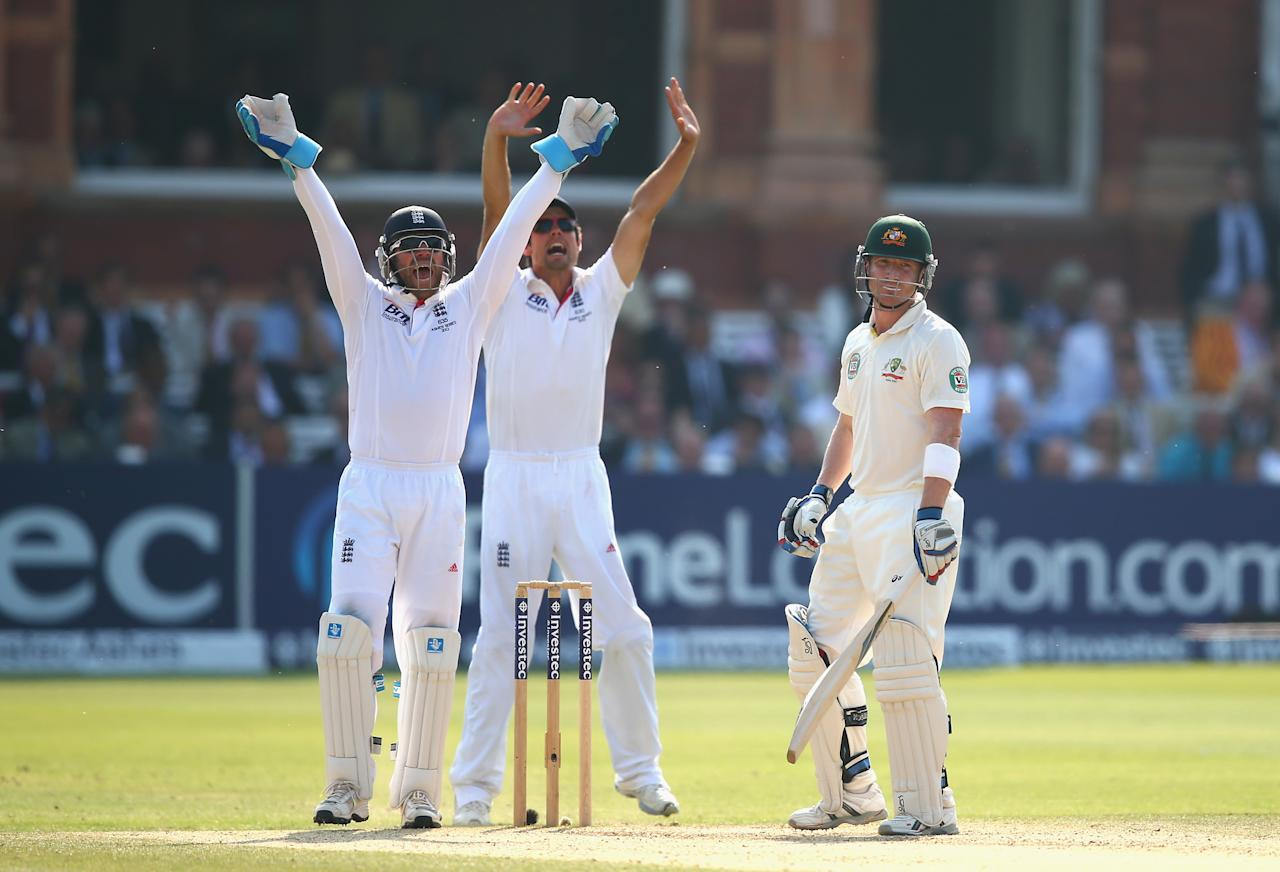 LONDON, ENGLAND - JULY 21:  Alastair Cook and Matt Prior of England celebrate after Graeme Swann of England claimed the wicket of Brad Haddin of Australia during day four of the 2nd Investec Ashes Test match between England and Australia at Lord's Cricket Ground on July 21, 2013 in London, England.  (Photo by Ryan Pierse/Getty Images)