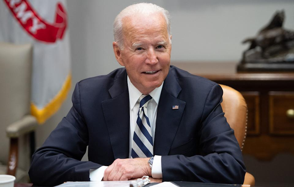 US President Joe Biden speaks during a meeting with governors and mayors about the administrations infrastructure bill, at the White House in Washington, DC, July 14, 2021. (Photo by SAUL LOEB / AFP) (Photo by SAUL LOEB/AFP via Getty Images)