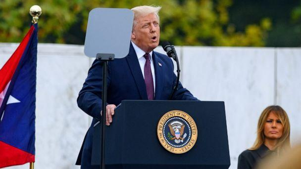 PHOTO: President Donald Trump delivers remarks during a ceremony at the Flight 93 National Memorial commemorating the 19th anniversary of the crash of Flight 93 and the September 11th terrorist attacks on Sept. 11, 2020, in Shanksville, Pa. (Jeff Swensen/Getty Images)