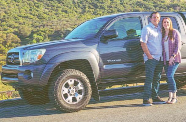 Amanda and Josh Williams stand next to a truck that they paid off early in 2018 ahead of focusing on student loan debt. (ABC Photo Illustration / Photo Courtesy Amanda Williams)