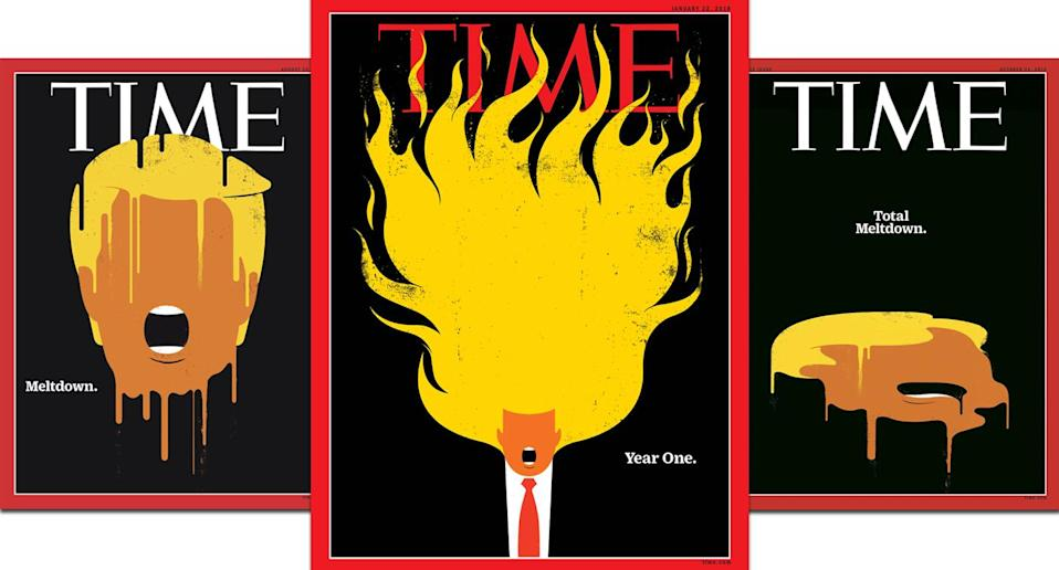 Time covers depicting Donald Trump as both candidate and president. (Courtesy of Time magazine)