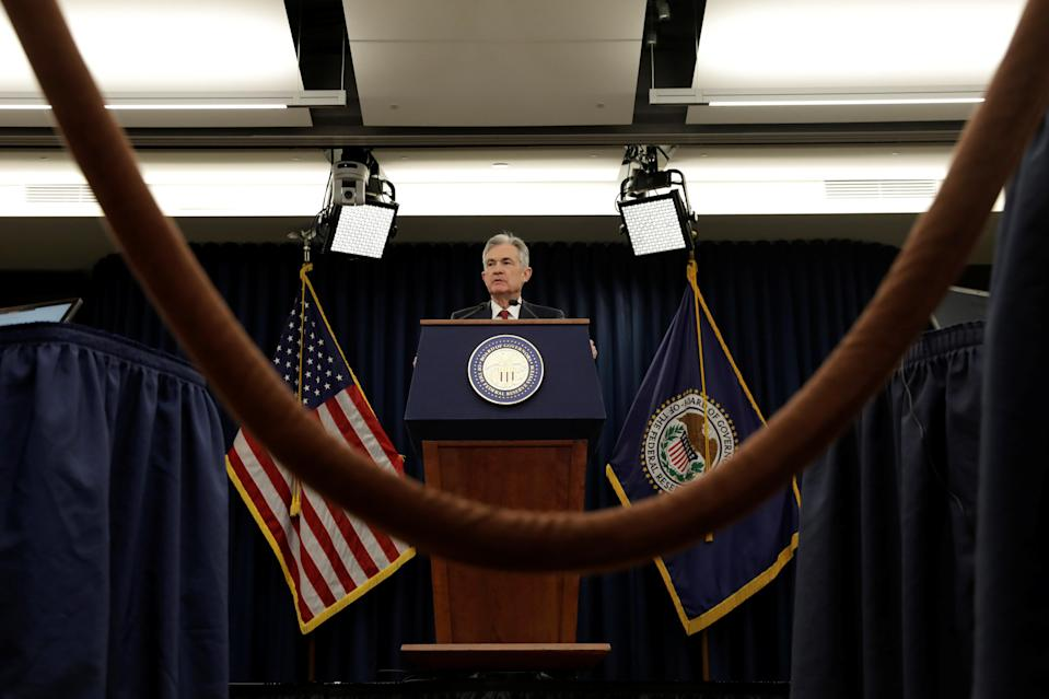 Federal Reserve Board Chairman Jerome Powell speaks during his news conference after a Federal Open Market Committee meeting in Washington, U.S. (REUTERS/Yuri Gripas)