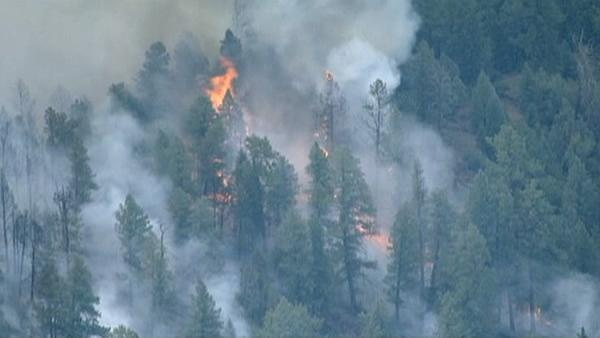 <p>A massive wildfire near a popular summer retreat in southern Colorado continues to be driven by winds and fueled by dead trees.</p>