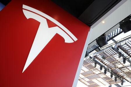A Tesla logo is seen in Los Angeles California