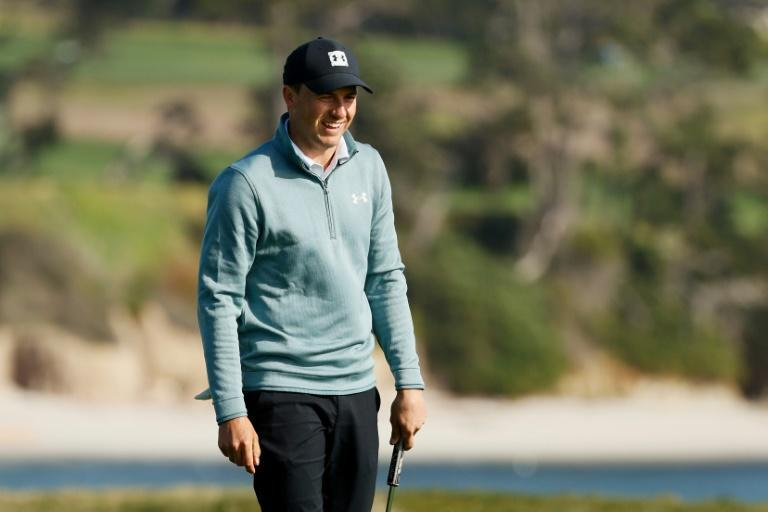 American Jordan Spieth on the way to a one-under 71 and a two-shot lead after three rounds of the US PGA Tour Pebble Beach Pro-Am