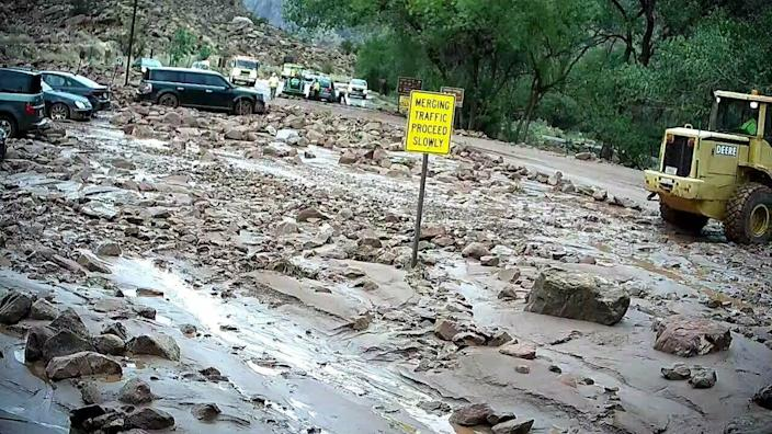 A flash flood hits Zion National Park on Tuesday, June 30, 2021.