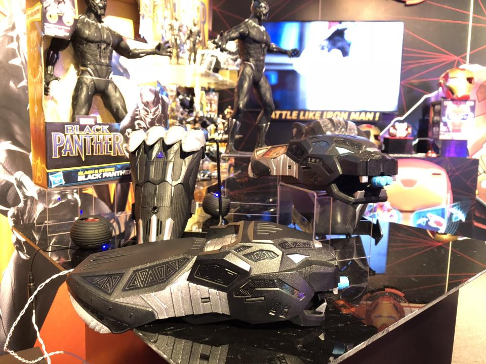 """<p><em>Black Panther </em><a rel=""""nofollow"""" href=""""https://www.yahoo.com/entertainment/black-panther-smashes-records-218-million-holiday-weekend-172438716--finance.html"""" data-ylk=""""slk:smashed box-office records;outcm:mb_qualified_link;_E:mb_qualified_link;ct:story;"""" class=""""link rapid-noclick-resp yahoo-link"""">smashed box-office records</a>, so look for these Hasbro-made tie-in toys to similarly reach new heights at toy retailers everywhere. (Photo: Adam Lance Garcia) </p>"""