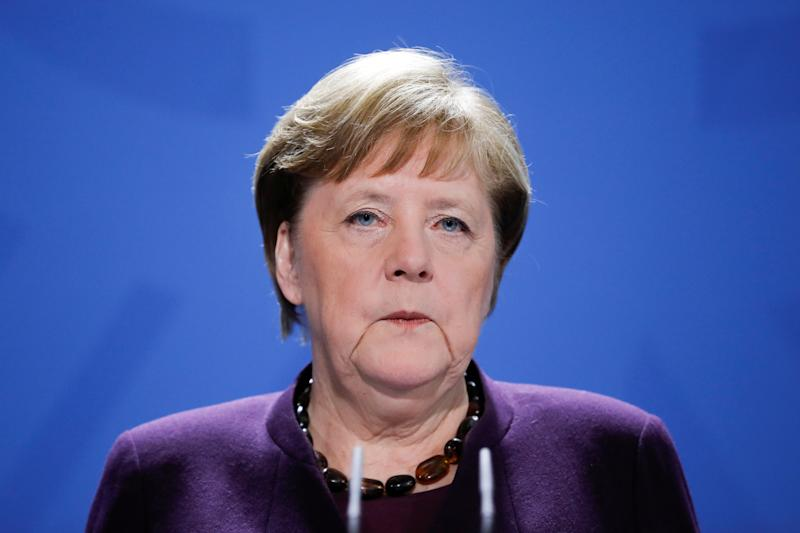 German Chancellor Angela Merkel holds a news conference about the coronavirus outbreak disease (COVID-19) and the German government measures to curb it, at the chancellery in Berlin, Germany, March 16, 2020. Markus Schreiber/Pool via REUTERS