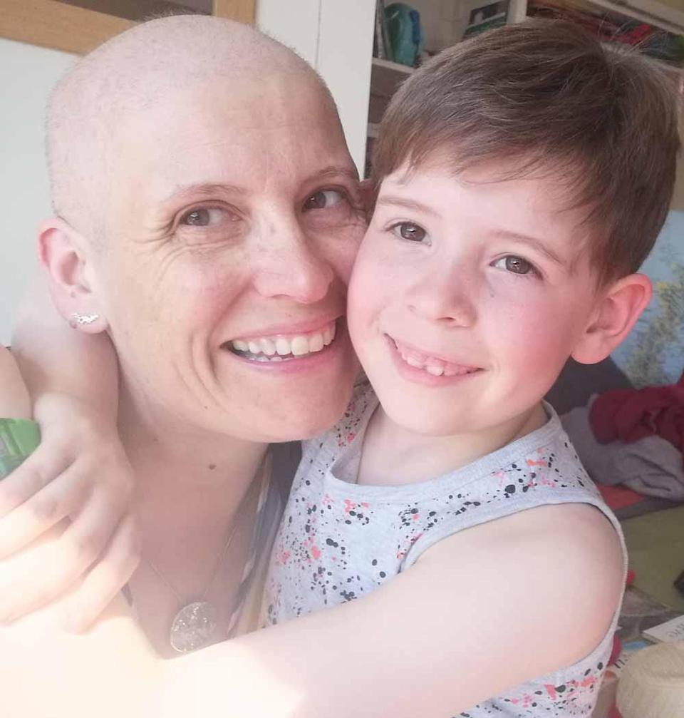 Jane pictured here with Matthew, eight, was diagnosed with cancer in March 2020 (Collect/PA Real Life).