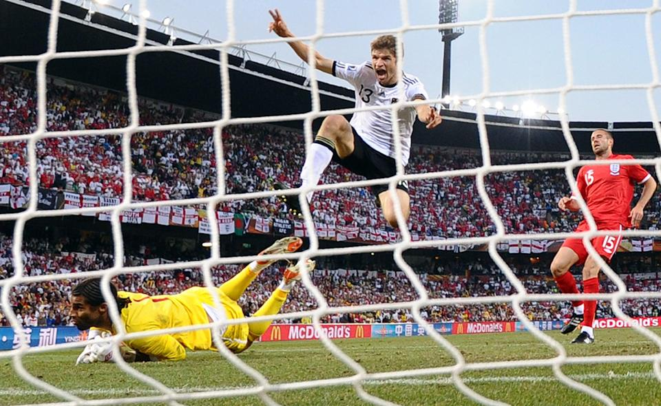 Germany's 4-1 win over England at the 2010 World Cup marked the nations' last major meeting (AFP via Getty Images)