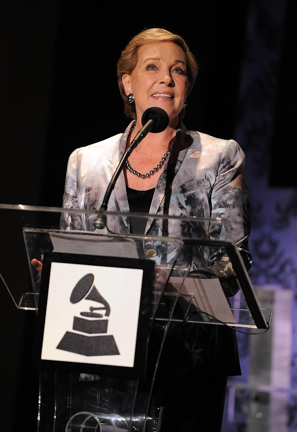 """<ul> <li><strong>Has:</strong> An Oscar for <strong>Mary Poppins</strong>, two Emmys for <strong>The Julie Andrews Hour</strong> and <strong>Broadway: The American Musical</strong>, and two 2011 Grammys - one for """"Julie Andrews's Collection of Poems, Songs, and Lullabies"""" and a Lifetime Achievement Award </li> <li><strong>Needs:</strong> A Tony</li> </ul>"""