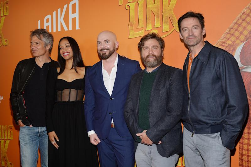"(L-R) Timothy Olyphant, Zoe Saldana, director Chris Butler, Zack Galifinakis and Hugh Jackman attend the ""Missing Link"" New York City Premiere at the Regal Cinemas Battery Park in New York, NY, April 7, 2019. (Photo by Anthony Behar/Sipa USA)"
