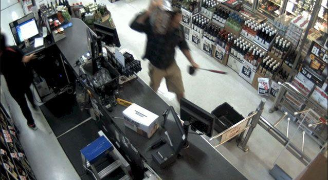 CCTV shows the thief casually carrying a carton of beer out of the store. Picture: WA Police