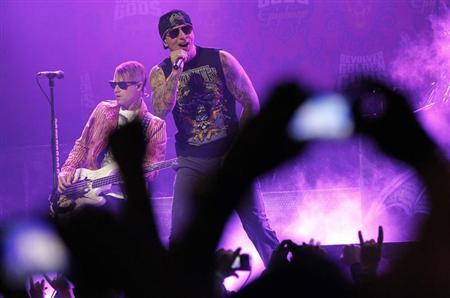 M. Shadows of rock band Avenged Sevenfold performs at the 3rd annual Golden Gods awards in Los Angeles