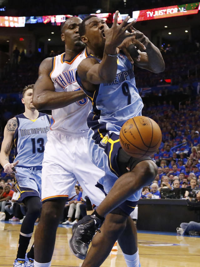 Memphis Grizzlies guard Tony Allen (9) loses the ball as he is fouled by Oklahoma City Thunder center Kendrick Perkins (5) in the first quarter of Game 7 of an opening-round NBA basketball playoff series in Oklahoma City, Saturday, May 3, 2014. (AP Photo/Sue Ogrocki)