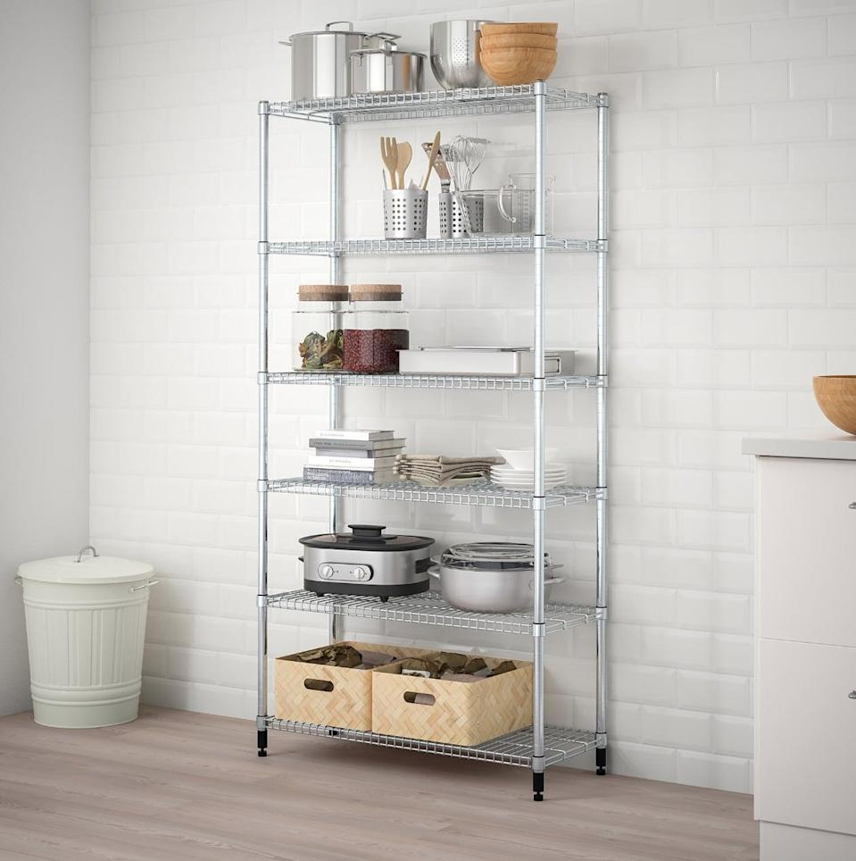 "<p>This versatile <a href=""https://www.popsugar.com/buy/Omar%201-Section%20Shelving%20Unit-447018?p_name=Omar%201-Section%20Shelving%20Unit&retailer=ikea.com&price=50&evar1=casa%3Aus&evar9=46151613&evar98=https%3A%2F%2Fwww.popsugar.com%2Fhome%2Fphoto-gallery%2F46151613%2Fimage%2F46152208%2FOmar-1-Section-Shelving-Unit&list1=shopping%2Cikea%2Corganization%2Ckitchens%2Chome%20shopping&prop13=api&pdata=1"" rel=""nofollow noopener"" target=""_blank"" data-ylk=""slk:Omar 1-Section Shelving Unit"" class=""link rapid-noclick-resp"">Omar 1-Section Shelving Unit</a> ($50) can be used to store food in the kitchen or keep supplies out of sight in the pantry.</p>"