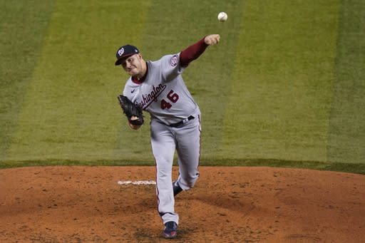 Washington Nationals starting pitcher Patrick Corbin throws during the third inning of the team's baseball game against the Miami Marlins, Saturday, Sept. 19, 2020, in Miami. (AP Photo/Lynne Sladky)