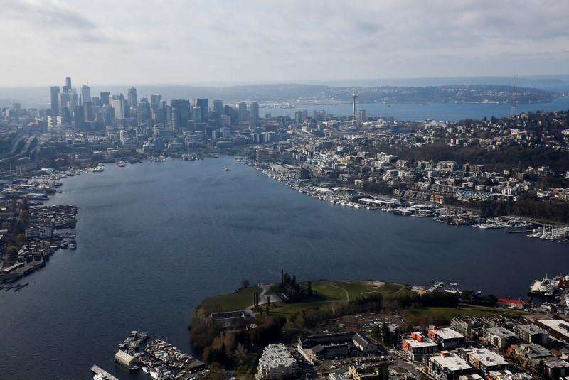 FILE PHOTO: An aerial photo looking south shows Gas Works Park and Lake Union with downtown Seattle in the distance in Seattle