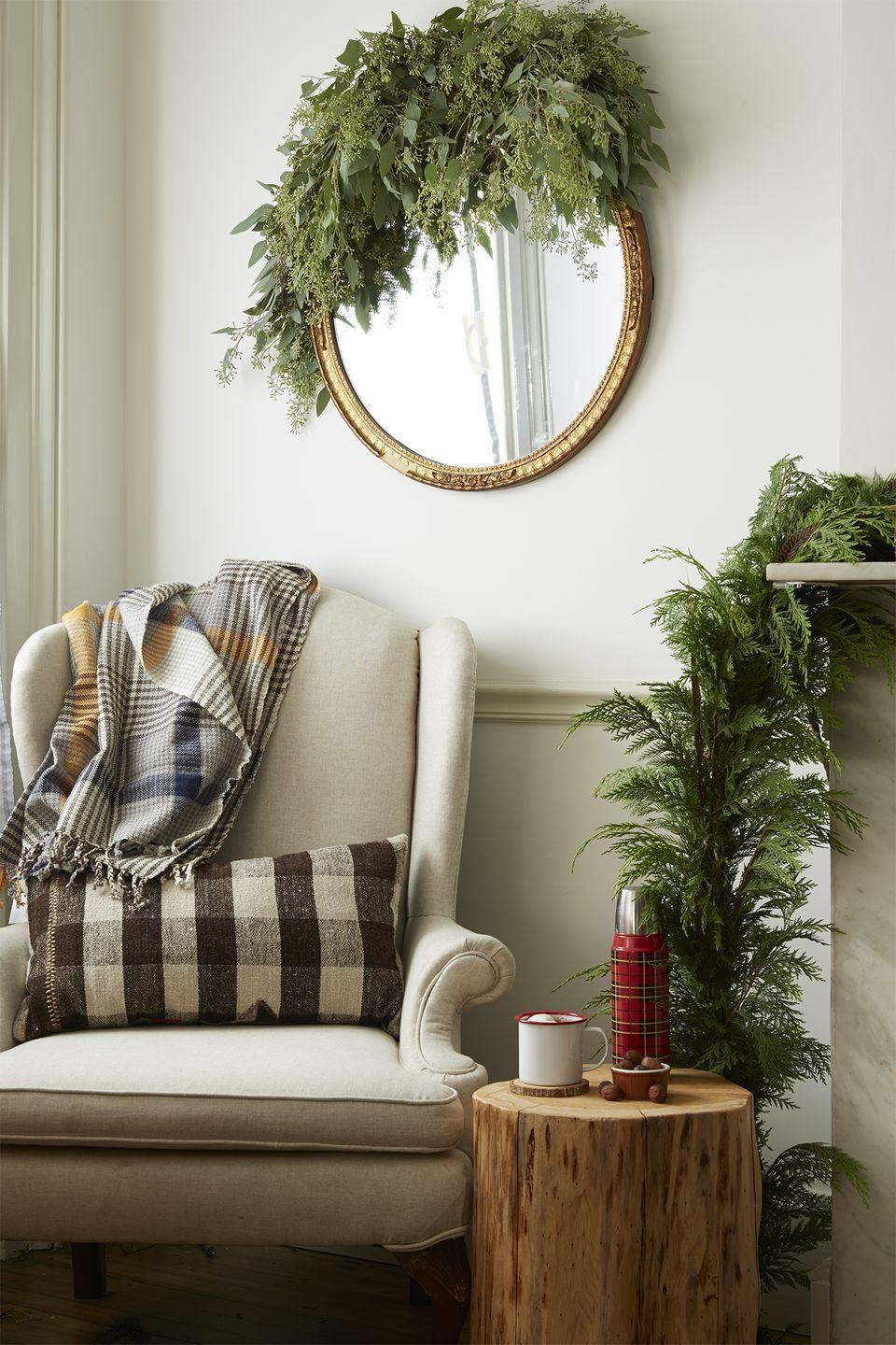 <p>Make even the smallest of spaces feel as bright and beautiful as the great doors by bringing the outside in. Spruce up fireplace mantels, bannisters, shelves, and wall mirrors with live greenery. </p>