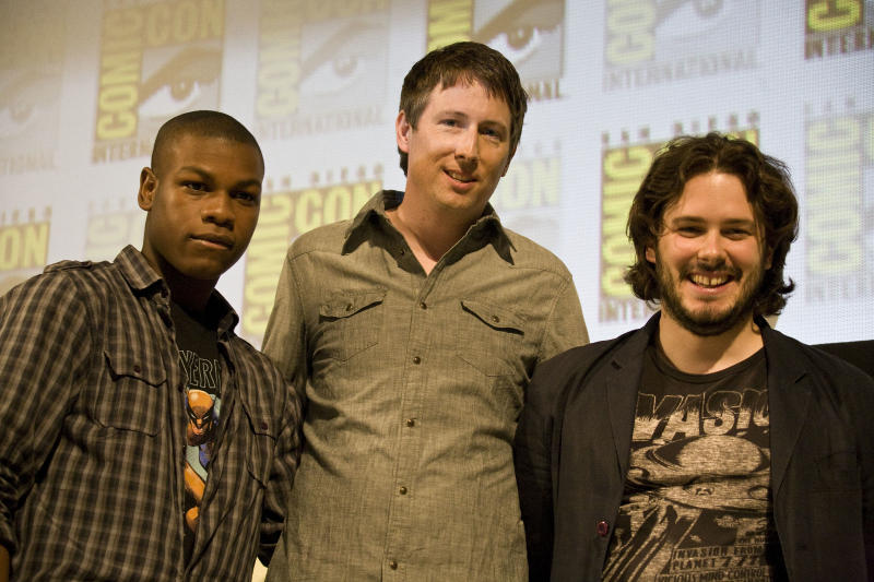 SAN DIEGO, CA - JULY 22: (L-R) John Boyega, Joe Cornish and Edgar Wright speak on stage during day two of Comic-Con 2011 held at the San Diego Convention Center on July 22, 2011 in San Diego, California. (Photo by Wendy Redfern/Redferns)