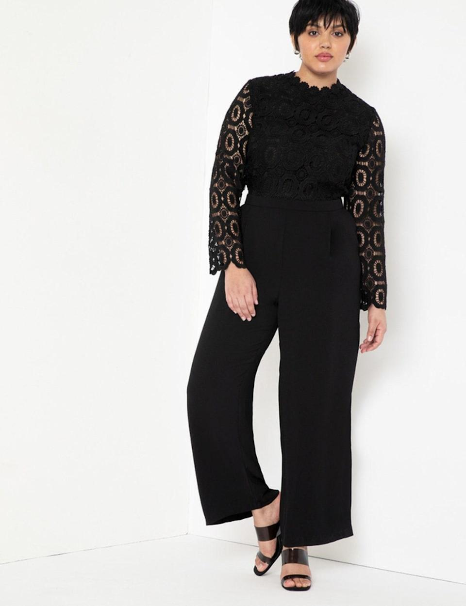 """If the aforementioned 24 dresses didn't hit, try a black lace jumpsuit. Not only does the one-and-done style transcend seasonal trends, but it's also one of those pieces you'll enjoy for years to come. Plus, the wide leg <em>guarantees</em> a dramatic stroll to the cheese station. $150, Eloquii. <a href=""""https://www.eloquii.com/lace-wide-leg-jumpsuit/1327117.html"""" rel=""""nofollow noopener"""" target=""""_blank"""" data-ylk=""""slk:Get it now!"""" class=""""link rapid-noclick-resp"""">Get it now!</a>"""