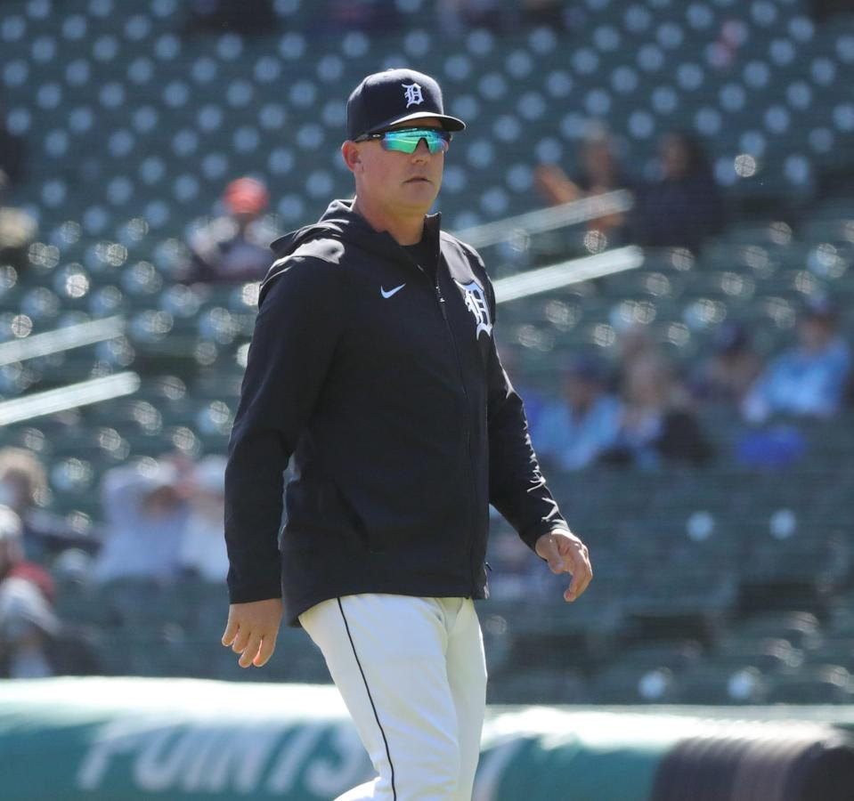 Tigers manager AJ Hinch makes a pitching change during the 4-0 loss to the Royals on Sunday, April 25, 2021, at Comerica Park.