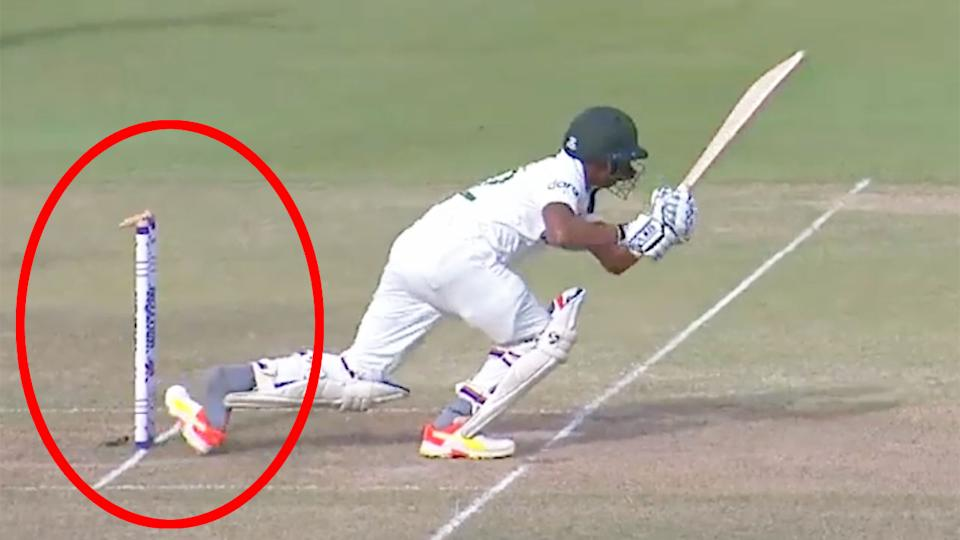 Seen here, Bangladesh batsman Taijul Islam is given out after his shoe slipped off and hit the wicket.
