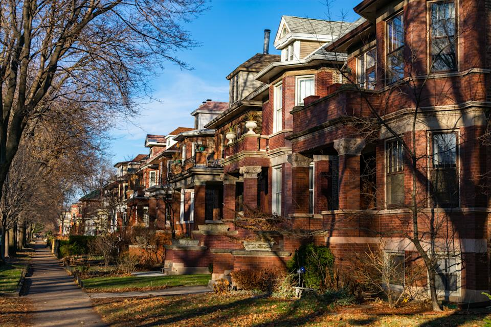 A row of old homes in the Andersonville neighborhood of Chicago