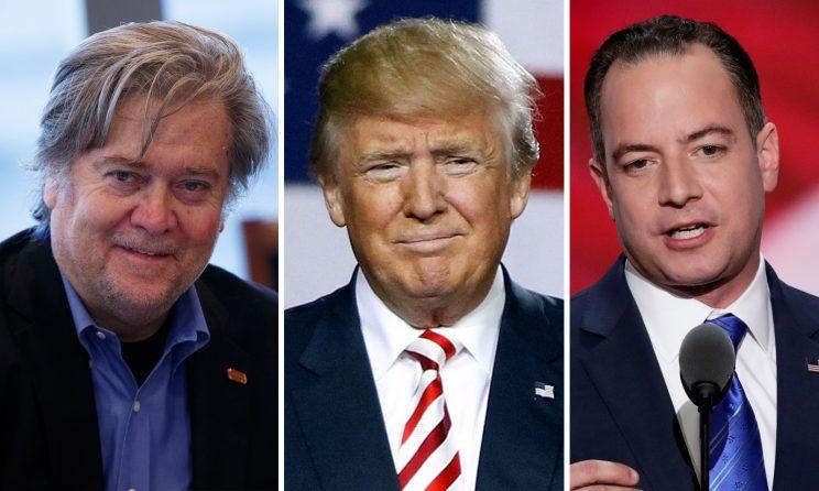 Steve Bannon, Donald Trump and Reince Priebus. (Photos: Evan Vucci/AP; J. Scott Applewhite/AP; Ralph Freso/Getty Images)