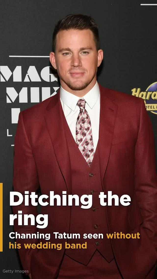 "Channing Tatum was seen for the first time Thursday without his wedding ring. Looking like he was trying to fly under the radar, the ""Magic Mike"" star wore a Harvard Business School hoodie and a low baseball cap while in London."