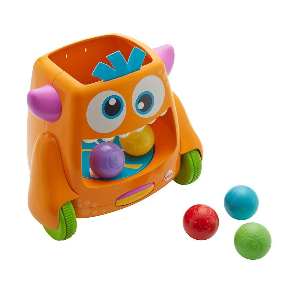 """<p><strong>Fisher-Price</strong></p><p>kmart.com</p><p><strong>$42.99</strong></p><p><a href=""""https://www.kmart.com/fisher-price-zoom-n-crawl-monster-8482/p-05233479000P"""" rel=""""nofollow noopener"""" target=""""_blank"""" data-ylk=""""slk:Shop Now"""" class=""""link rapid-noclick-resp"""">Shop Now</a></p><p>Appropriate for kids ages 9 months and up, this monster works in two modes: Your kids can simply feed him the five colorful balls and watch them spin around inside his mouth. Or you can set the monster free, and <strong>it'll roll around and spit out the balls</strong>, and your child will squeal with delight chasing after them. <strong><br></strong></p><p><strong>RELATED:</strong> <a href=""""https://www.goodhousekeeping.com/holidays/christmas-ideas/g23610311/baby-gifts/"""" rel=""""nofollow noopener"""" target=""""_blank"""" data-ylk=""""slk:The Best Gifts for Babies to Delight Brand-New Parents"""" class=""""link rapid-noclick-resp"""">The Best Gifts for Babies to Delight Brand-New Parents</a></p>"""