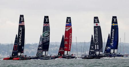 FILE PHOTO: Britain Sailing - America's Cup 2016 - Portsmouth - 24/7/16(L-R) Oracle Team USA, Land Rover BAR, Emirates Team New Zealand, Softbank Team Japan and Artemis Racing during the race.  Reuters / Henry Browne / File Photo / Livepic