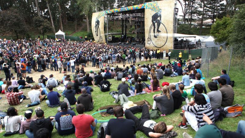 Outside Lands crowd watching Tom Morello's set in 2012