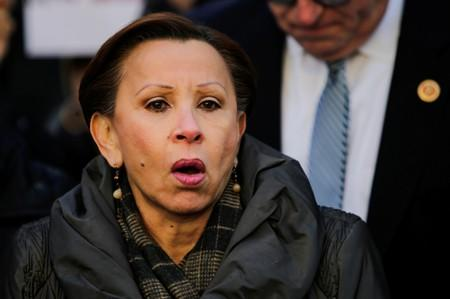 FILE PHOTO: Congresswoman Nydia M. Velazquez speaks to people as they take part in a rally denouncing the targeting of immigrant activists by Immigration Customs Enforcement in the Manhattan borough of New York