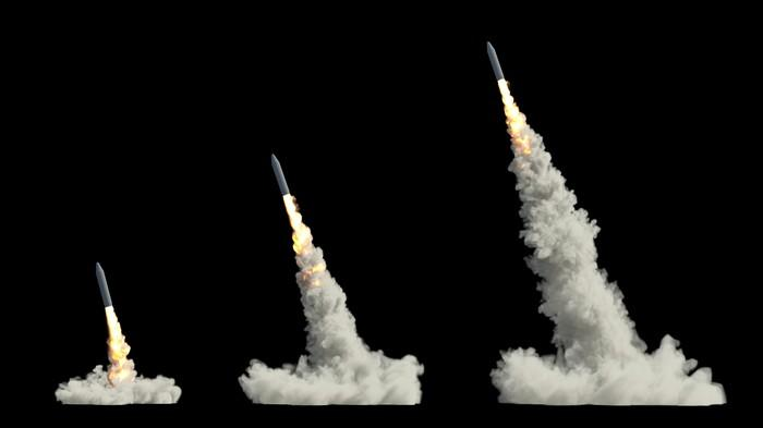 An illustration of a ballistic missile launch.